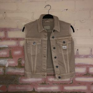 Calvin Kline denim vest - tan - xs - safari vibes